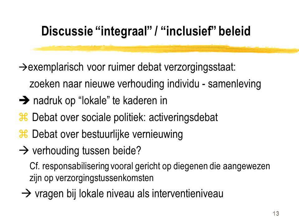 Discussie integraal / inclusief beleid