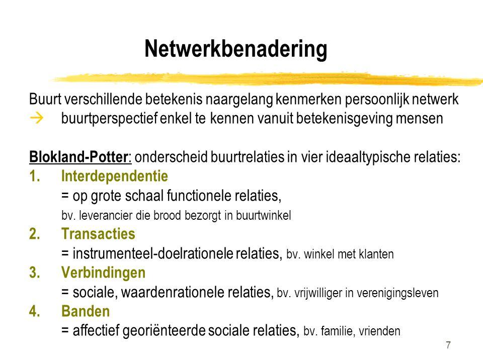 Netwerkbenadering Buurt verschillende betekenis naargelang kenmerken persoonlijk netwerk.
