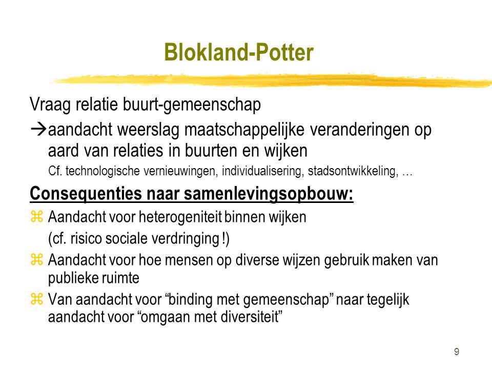 Blokland-Potter Vraag relatie buurt-gemeenschap