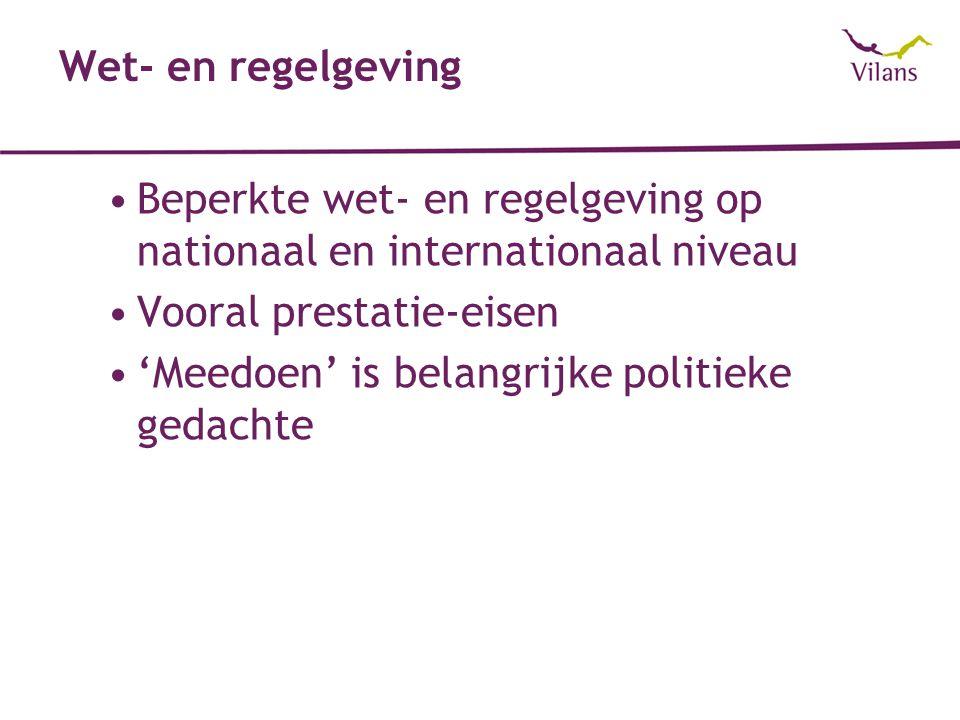 Wet- en regelgeving Beperkte wet- en regelgeving op nationaal en internationaal niveau. Vooral prestatie-eisen.