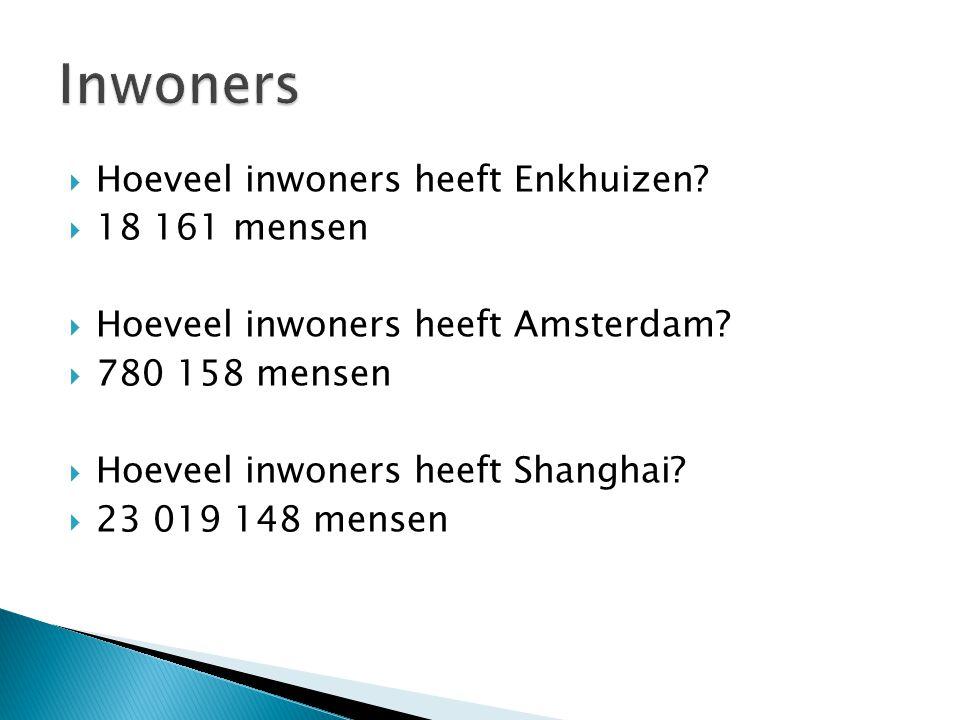 Inwoners Hoeveel inwoners heeft Enkhuizen 18 161 mensen