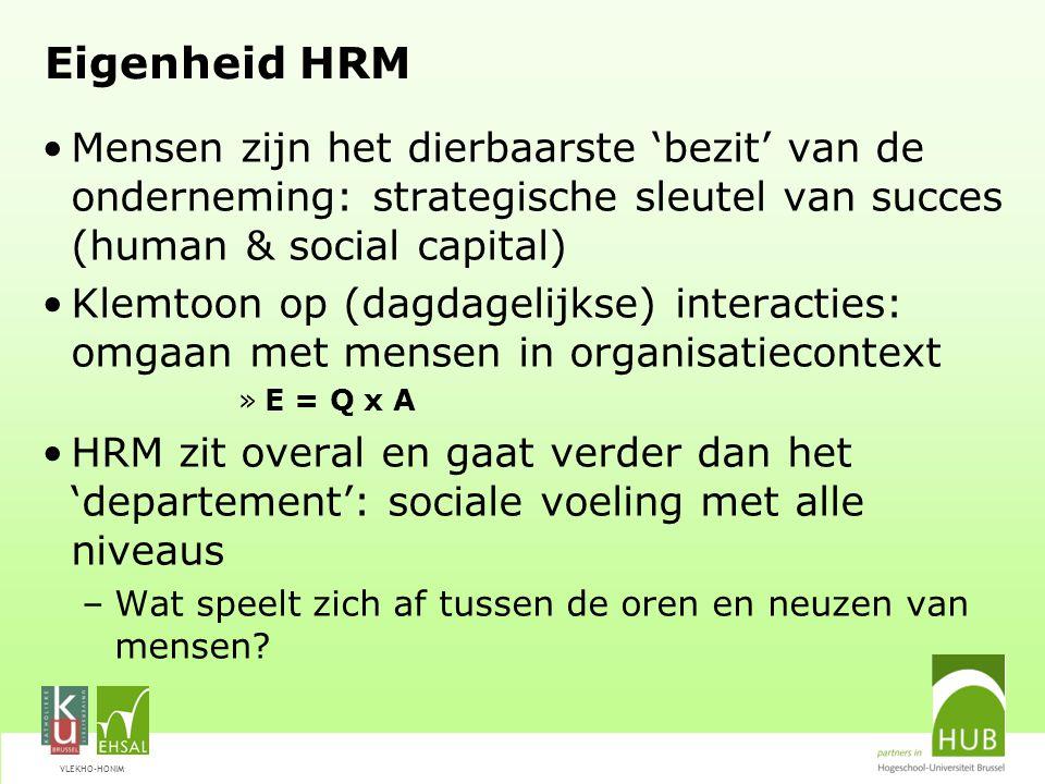 Eigenheid HRM Mensen zijn het dierbaarste 'bezit' van de onderneming: strategische sleutel van succes (human & social capital)