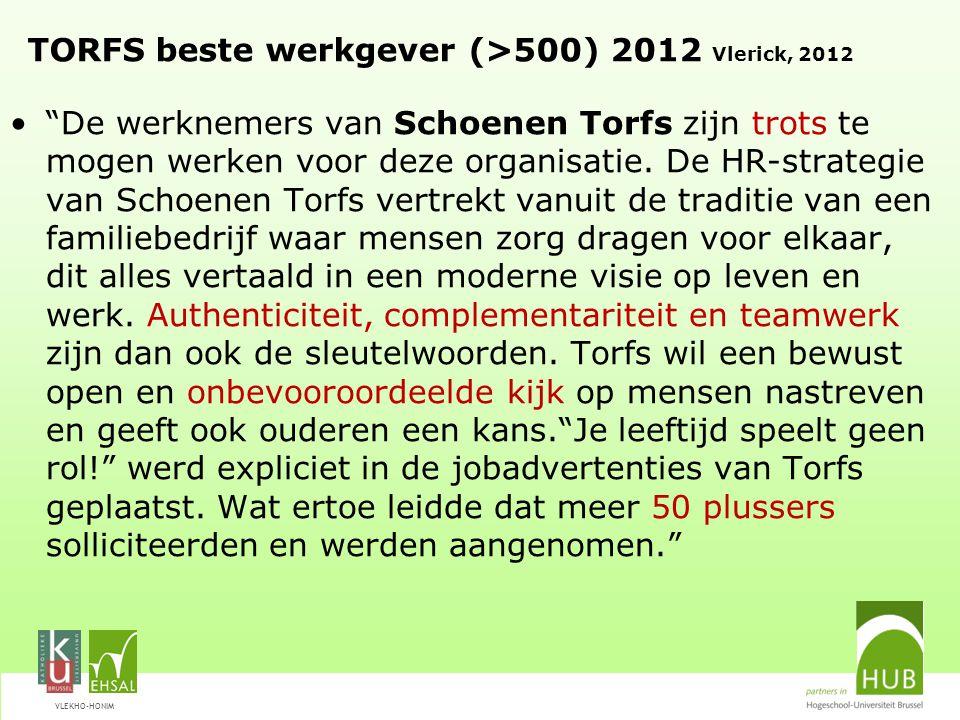 TORFS beste werkgever (>500) 2012 Vlerick, 2012