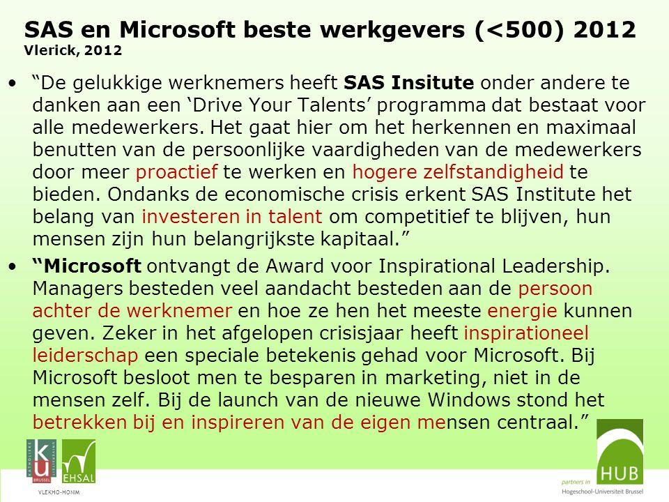 SAS en Microsoft beste werkgevers (<500) 2012 Vlerick, 2012