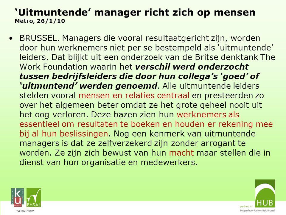 'Uitmuntende' manager richt zich op mensen Metro, 26/1/10