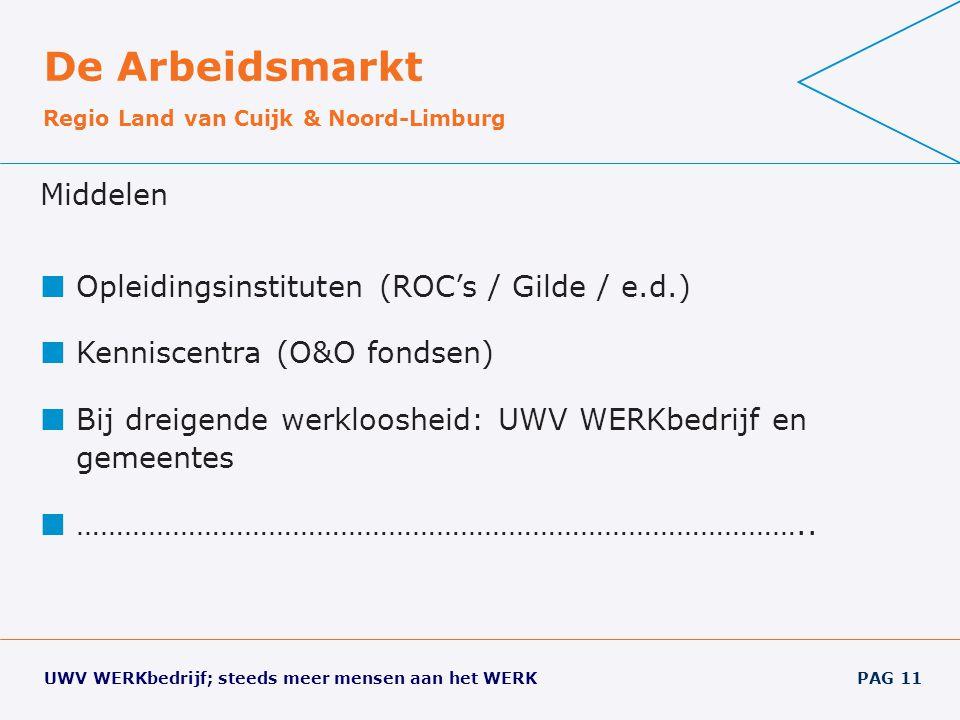 De Arbeidsmarkt Middelen Opleidingsinstituten (ROC's / Gilde / e.d.)