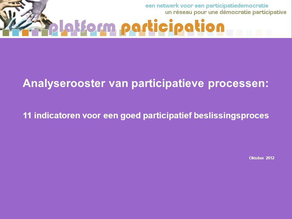 Analyserooster van participatieve processen: