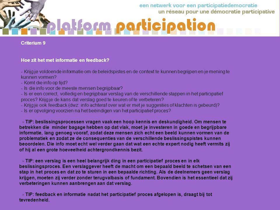 Criterium 9 Hoe zit het met informatie en feedback