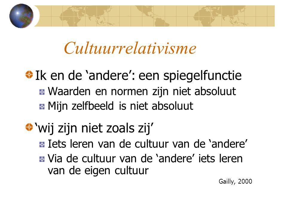 Cultuurrelativisme Ik en de 'andere': een spiegelfunctie