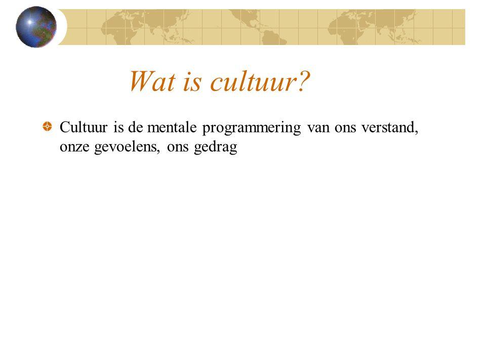 Wat is cultuur Cultuur is de mentale programmering van ons verstand, onze gevoelens, ons gedrag