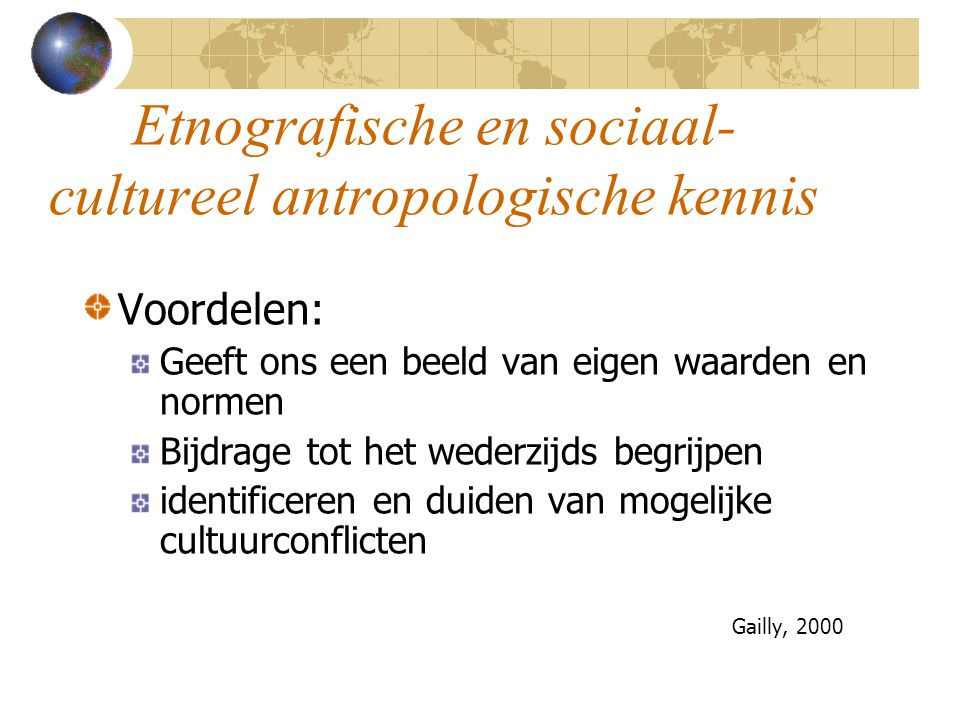 Etnografische en sociaal-cultureel antropologische kennis