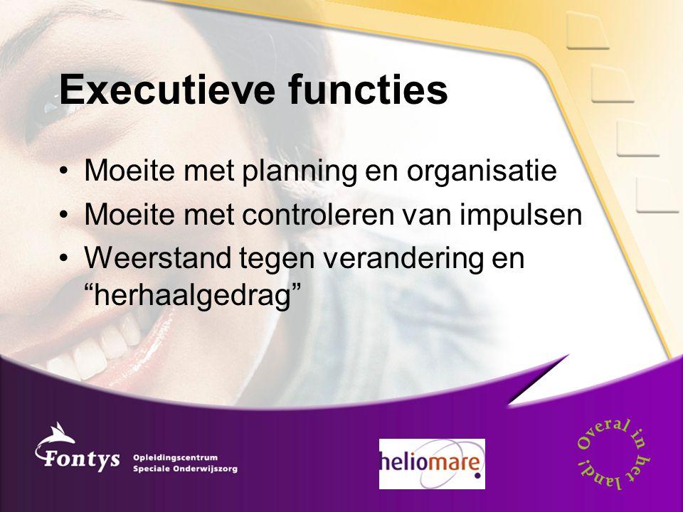 Executieve functies Moeite met planning en organisatie