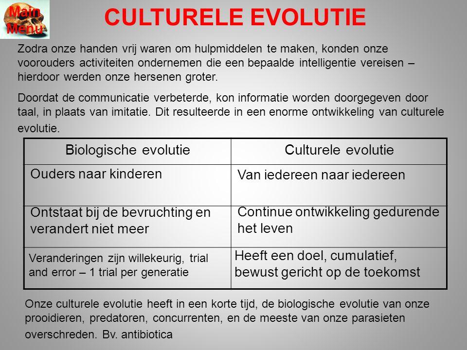 CULTURELE EVOLUTIE Main Menu Biologische evolutie Culturele evolutie