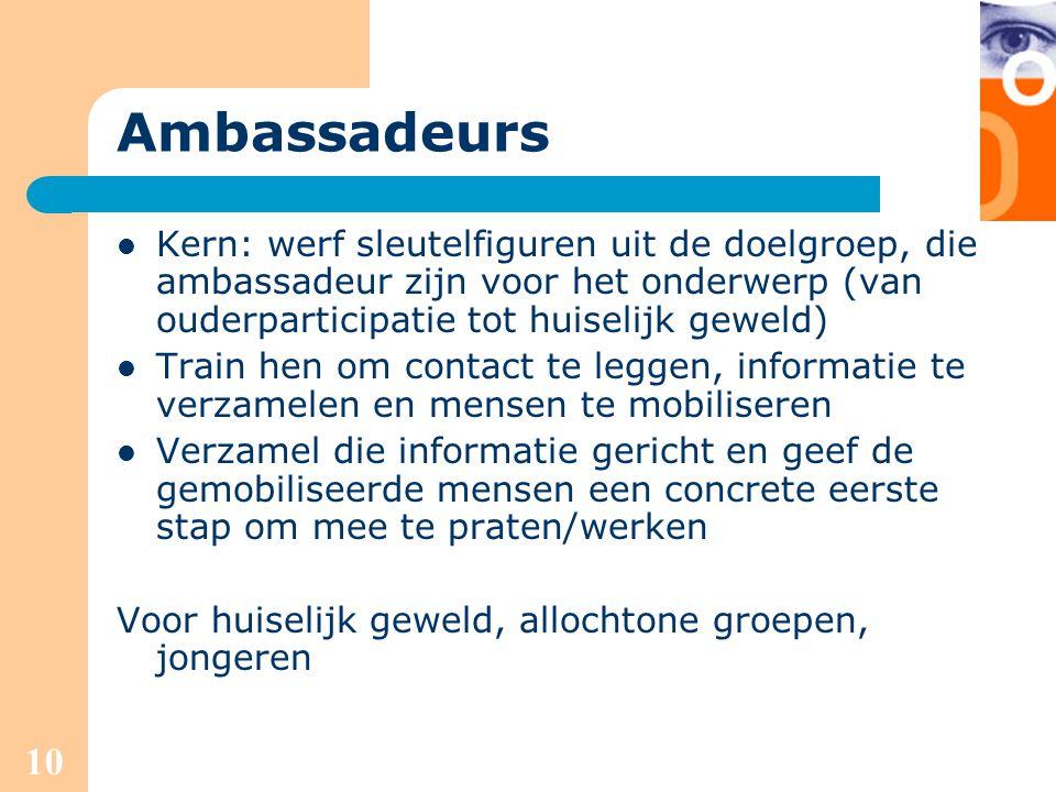 Ambassadeurs Kern: werf sleutelfiguren uit de doelgroep, die ambassadeur zijn voor het onderwerp (van ouderparticipatie tot huiselijk geweld)