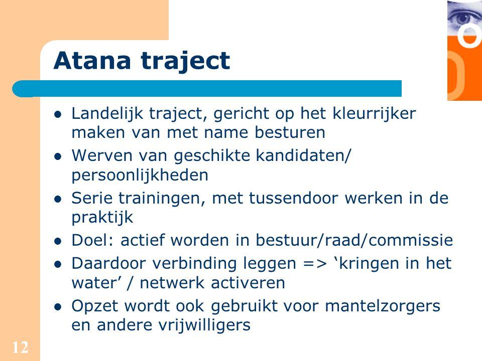 Atana traject Landelijk traject, gericht op het kleurrijker maken van met name besturen. Werven van geschikte kandidaten/ persoonlijkheden.