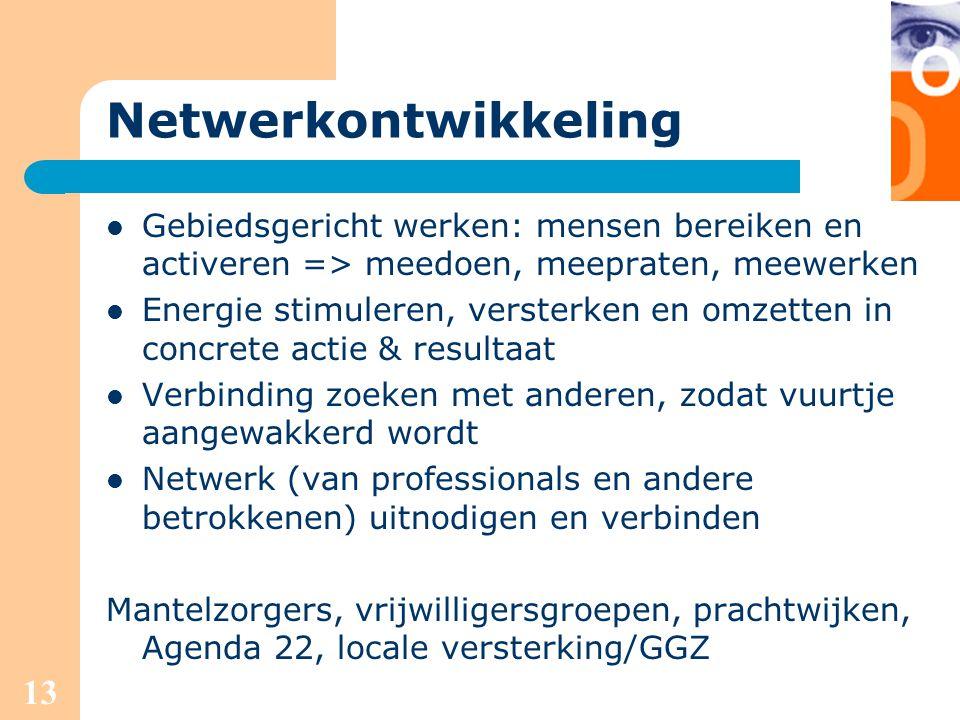 Netwerkontwikkeling Gebiedsgericht werken: mensen bereiken en activeren => meedoen, meepraten, meewerken.