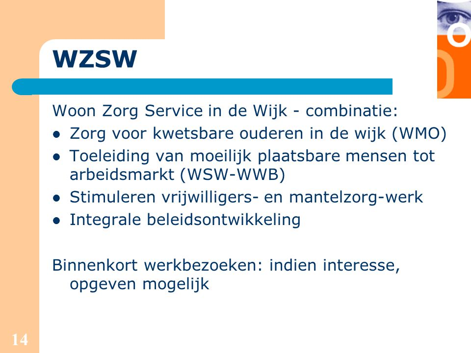 WZSW Woon Zorg Service in de Wijk - combinatie: