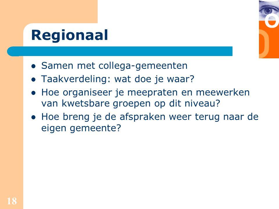 Regionaal Samen met collega-gemeenten Taakverdeling: wat doe je waar