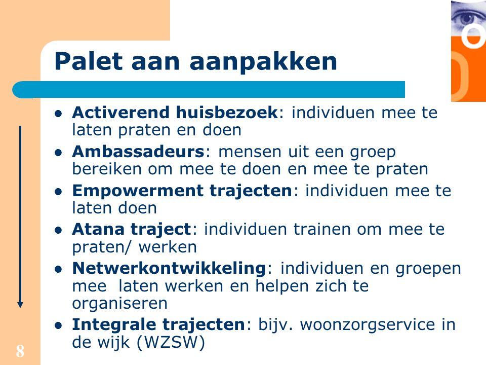 Palet aan aanpakken Activerend huisbezoek: individuen mee te laten praten en doen.