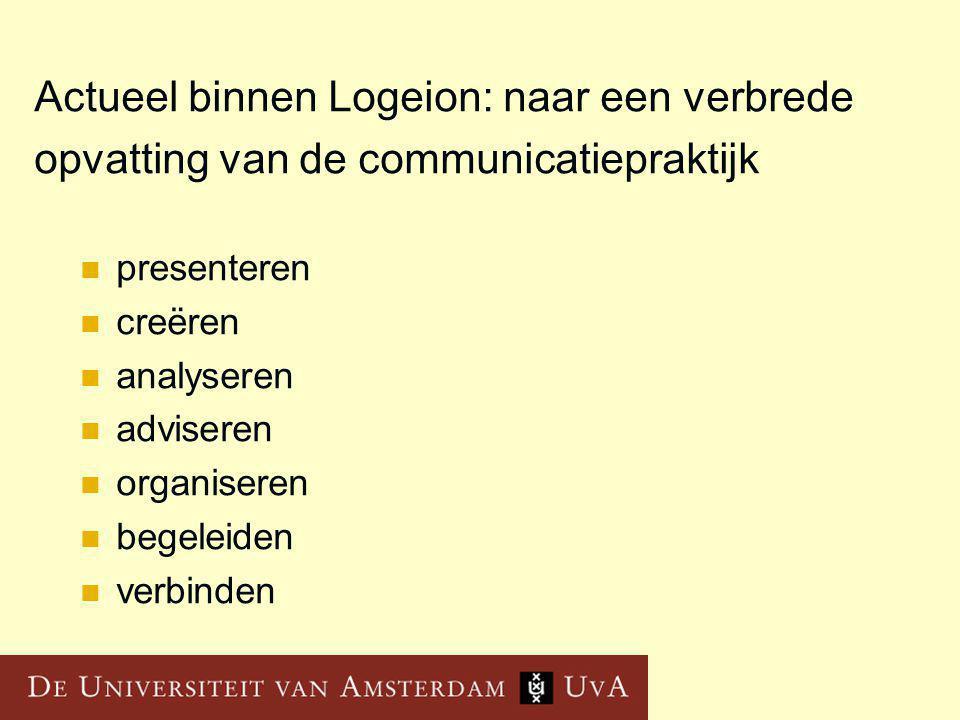 Actueel binnen Logeion: naar een verbrede opvatting van de communicatiepraktijk