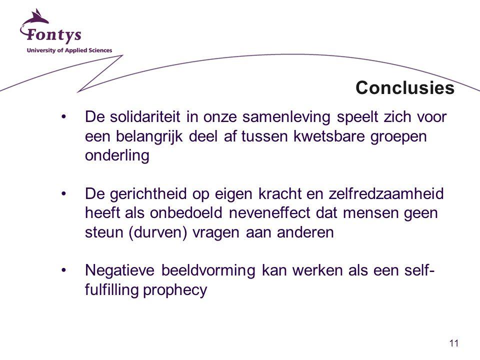 Conclusies De solidariteit in onze samenleving speelt zich voor een belangrijk deel af tussen kwetsbare groepen onderling.