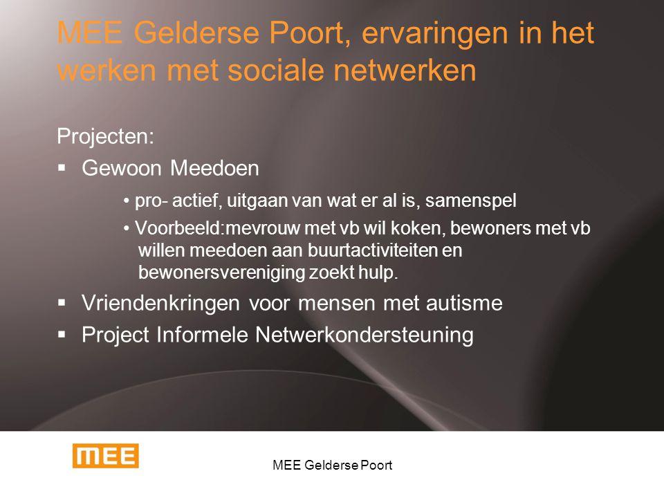 MEE Gelderse Poort, ervaringen in het werken met sociale netwerken