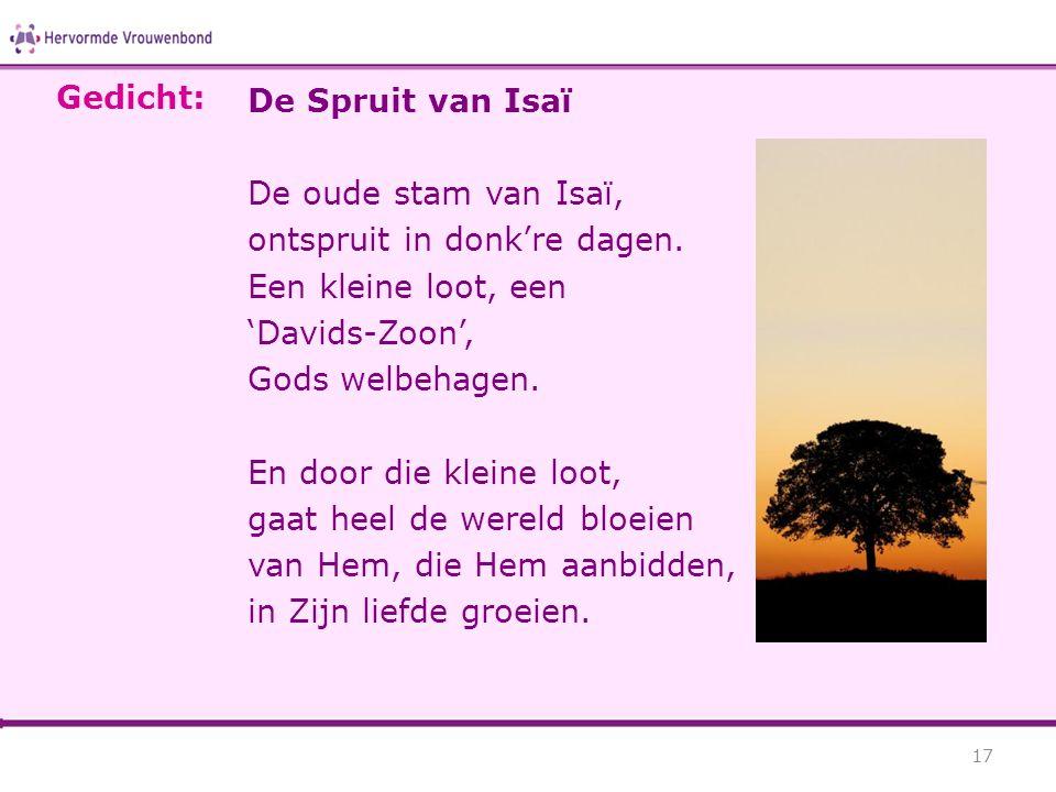Gedicht: De Spruit van Isaï. De oude stam van Isaï, ontspruit in donk're dagen. Een kleine loot, een.