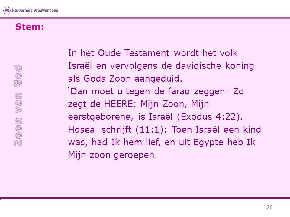 Stem: In het Oude Testament wordt het volk Israël en vervolgens de davidische koning als Gods Zoon aangeduid.