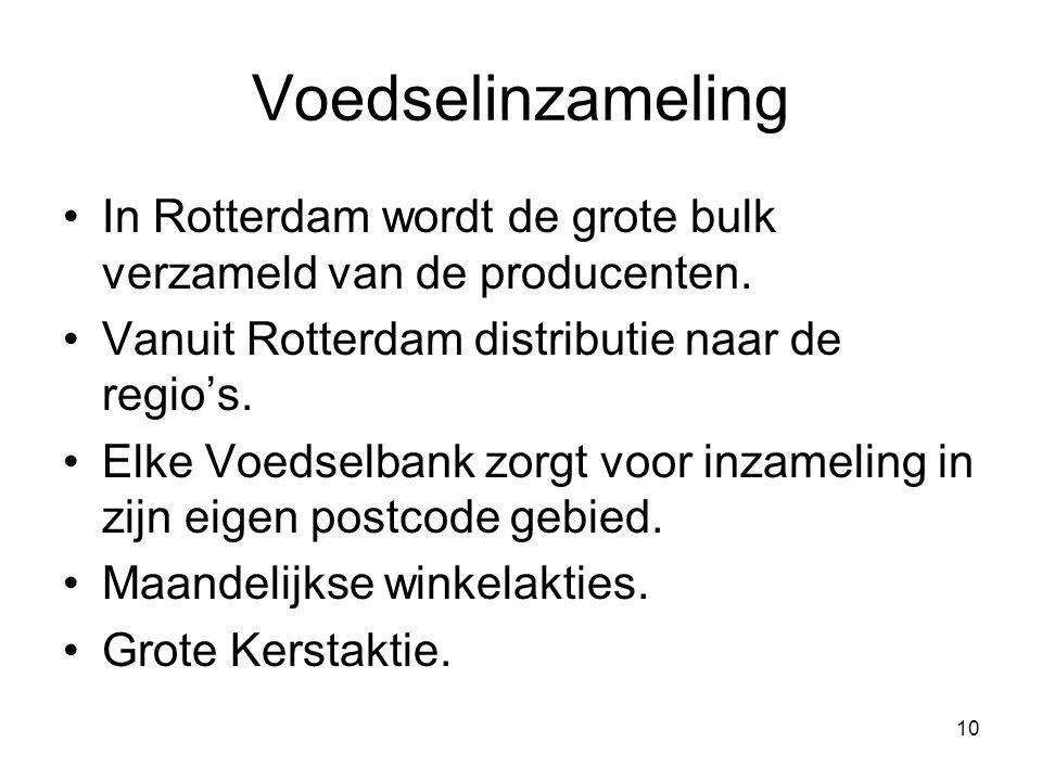 Voedselinzameling In Rotterdam wordt de grote bulk verzameld van de producenten. Vanuit Rotterdam distributie naar de regio's.