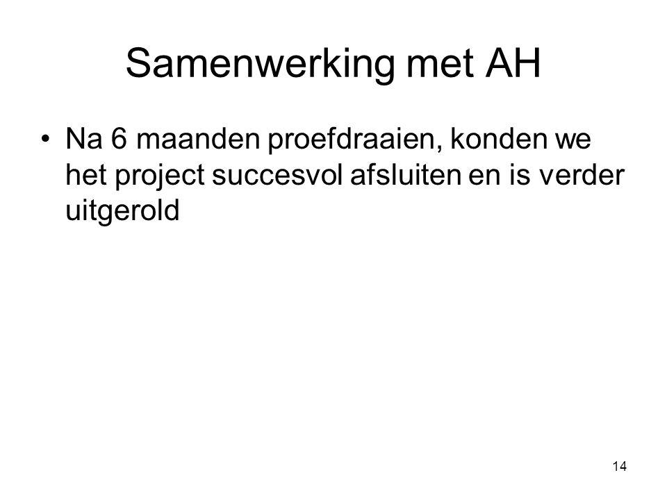 Samenwerking met AH Na 6 maanden proefdraaien, konden we het project succesvol afsluiten en is verder uitgerold.