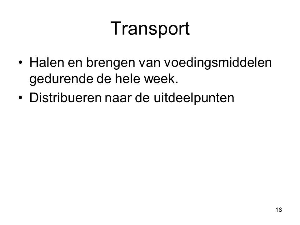 Transport Halen en brengen van voedingsmiddelen gedurende de hele week.