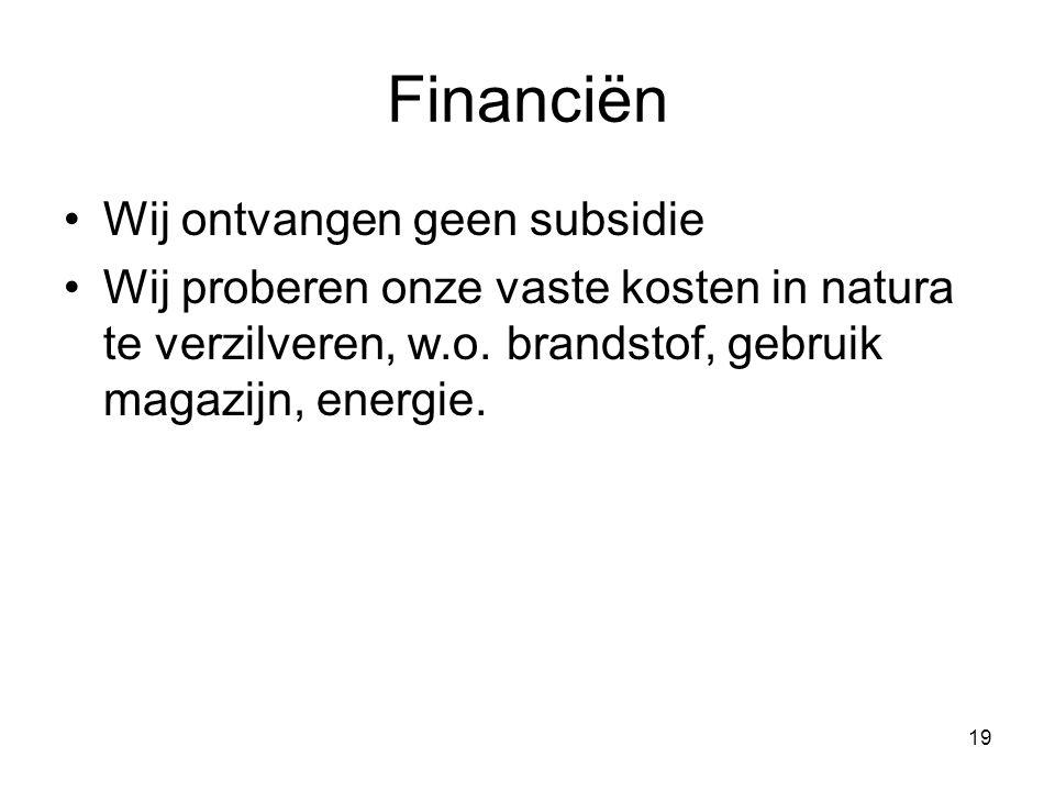 Financiën Wij ontvangen geen subsidie