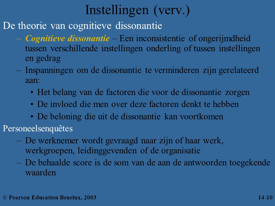 Instellingen (verv.) De theorie van cognitieve dissonantie