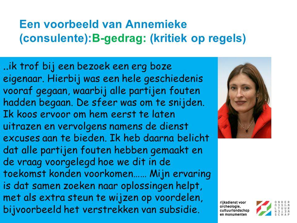 Een voorbeeld van Annemieke (consulente):B-gedrag: (kritiek op regels)