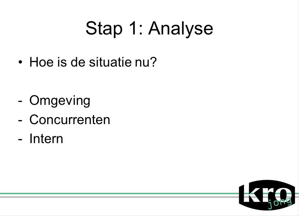 Stap 1: Analyse Hoe is de situatie nu Omgeving Concurrenten Intern