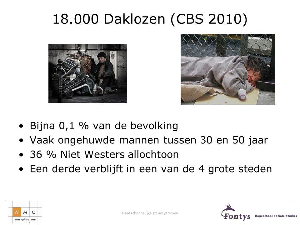 18.000 Daklozen (CBS 2010) Bijna 0,1 % van de bevolking