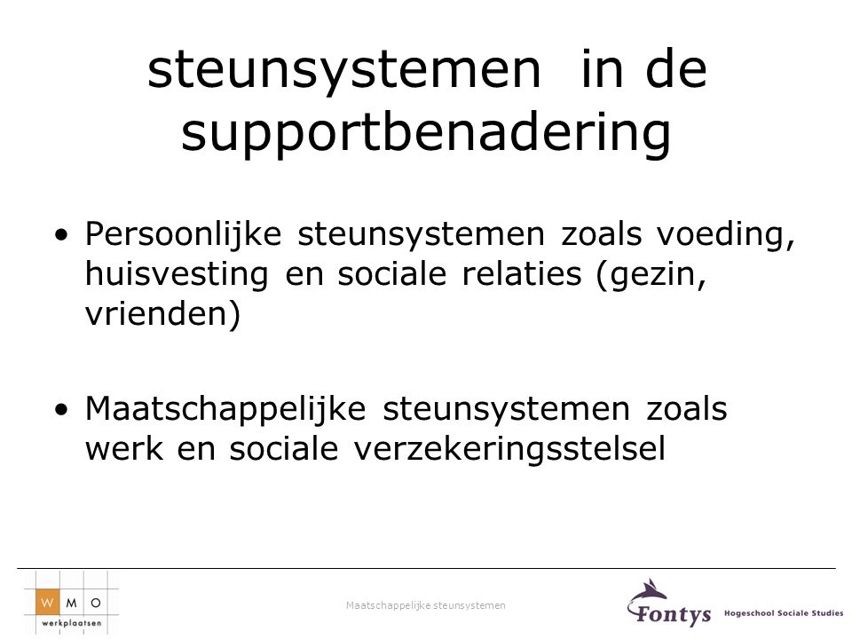 steunsystemen in de supportbenadering
