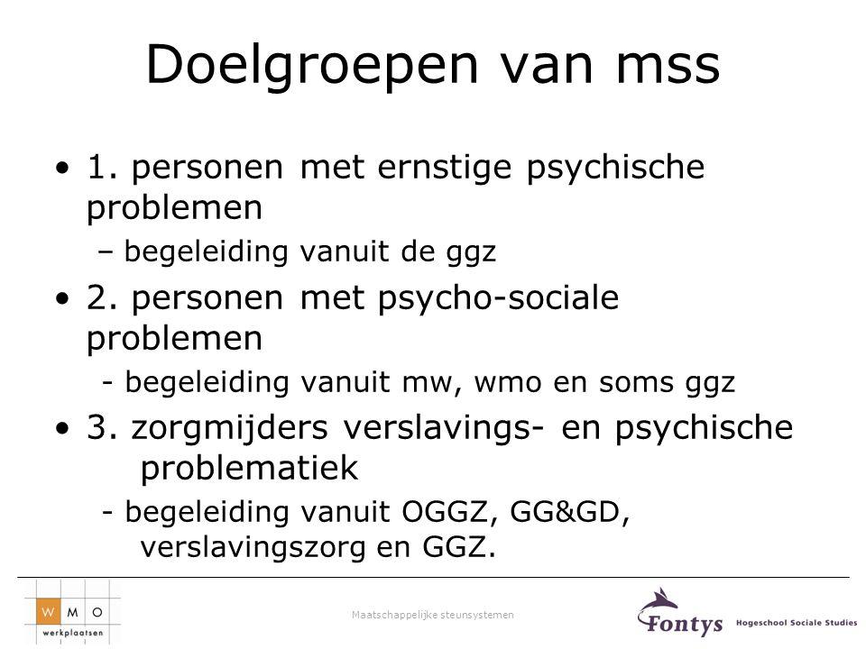 Doelgroepen van mss 1. personen met ernstige psychische problemen