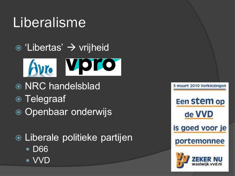 Liberalisme 'Libertas'  vrijheid NRC handelsblad Telegraaf