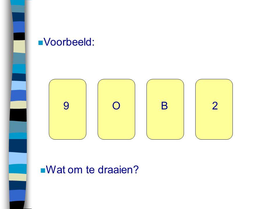 Voorbeeld: 9 O B 2 Wat om te draaien