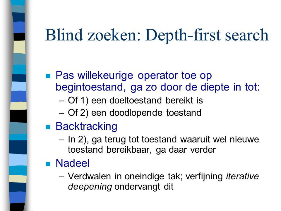 Blind zoeken: Depth-first search