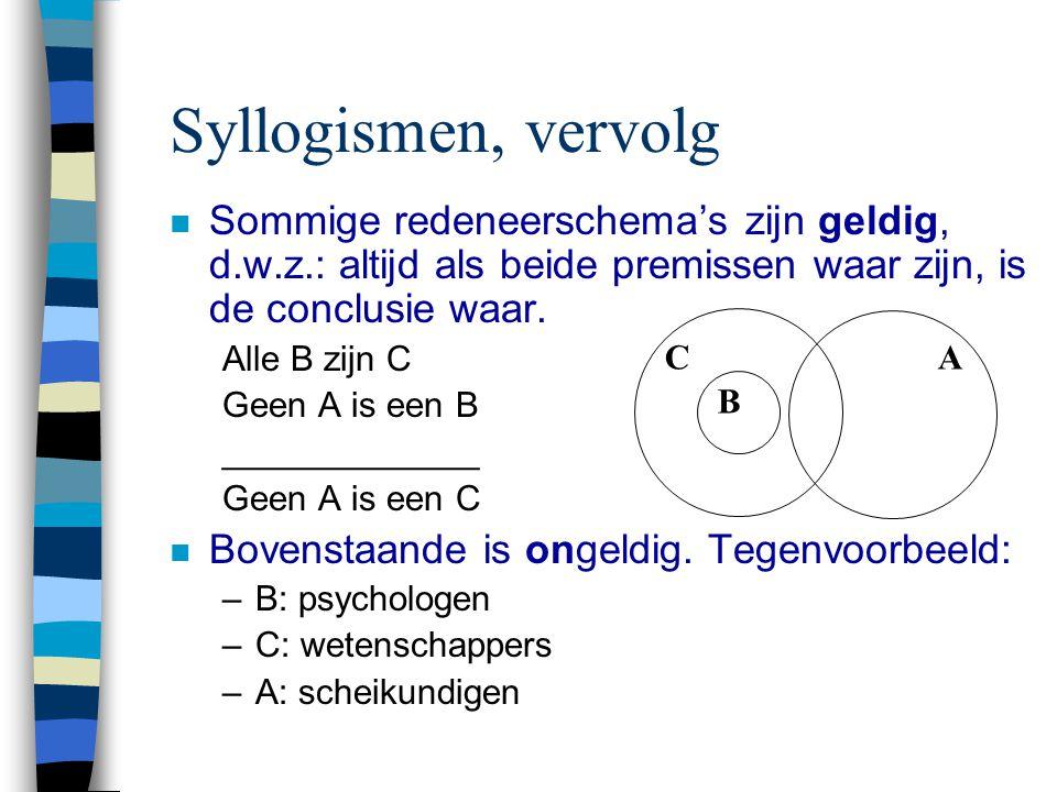 Syllogismen, vervolg Sommige redeneerschema's zijn geldig, d.w.z.: altijd als beide premissen waar zijn, is de conclusie waar.