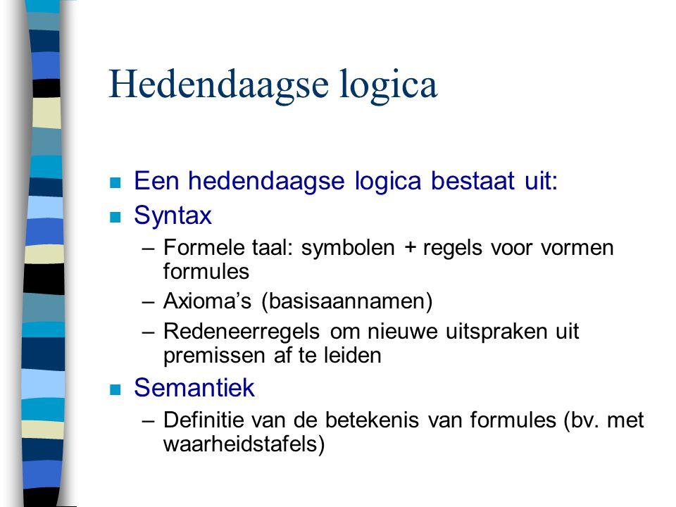 Hedendaagse logica Een hedendaagse logica bestaat uit: Syntax