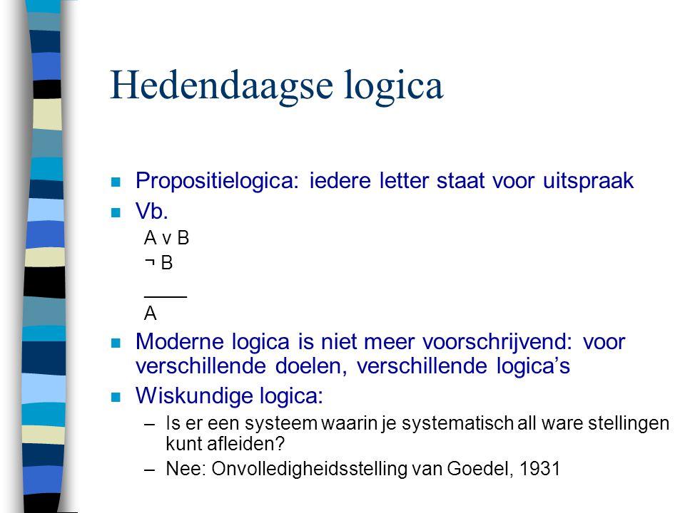Hedendaagse logica Propositielogica: iedere letter staat voor uitspraak. Vb. A v B. ¬ B. ____. A.
