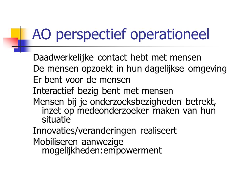 AO perspectief operationeel
