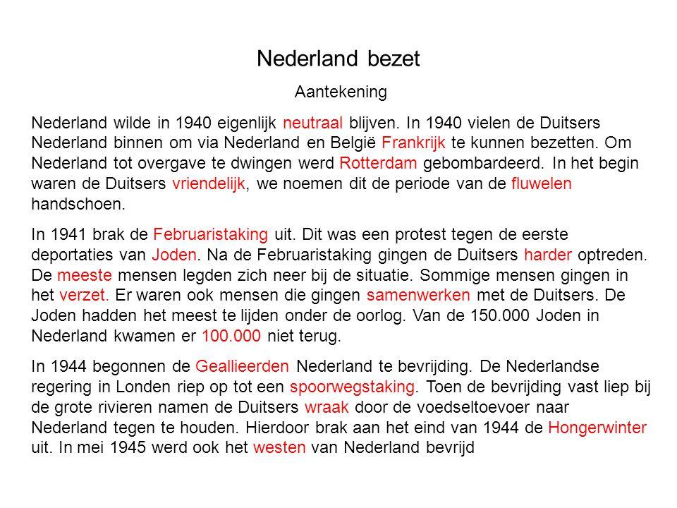 Nederland bezet Aantekening