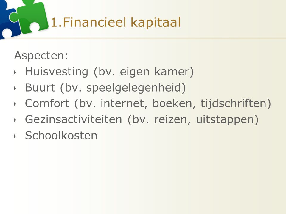 1.Financieel kapitaal Aspecten: Huisvesting (bv. eigen kamer)