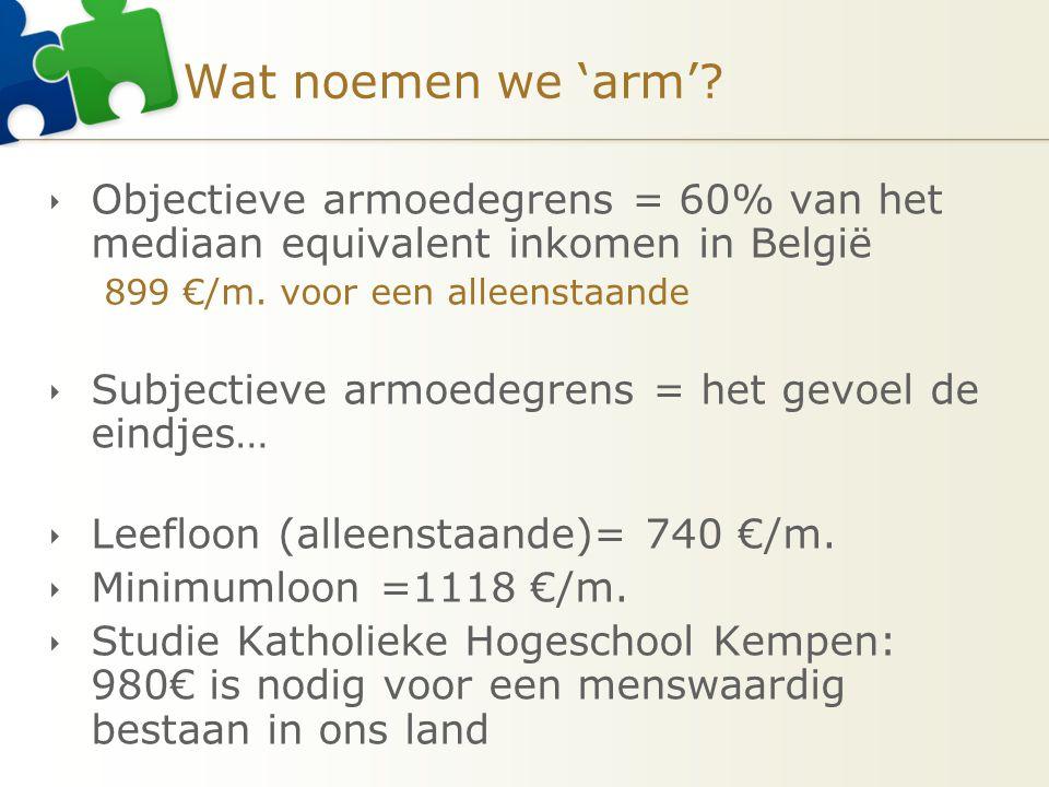 Wat noemen we 'arm' Objectieve armoedegrens = 60% van het mediaan equivalent inkomen in België. 899 €/m. voor een alleenstaande.