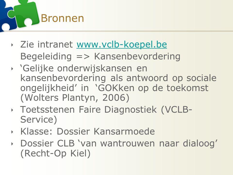 Bronnen Zie intranet www.vclb-koepel.be