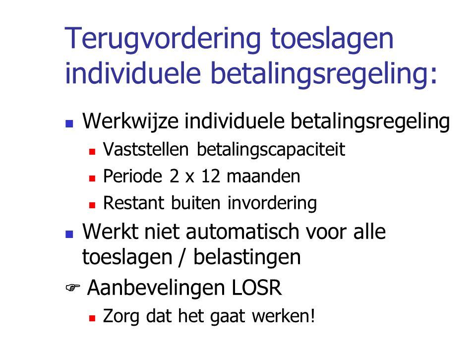 Terugvordering toeslagen individuele betalingsregeling:
